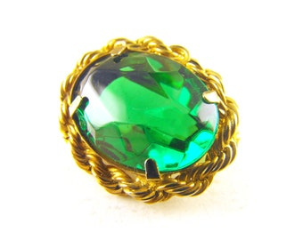 Vintage Brooch Emerald Green Faceted Glass Braided Gold Tone Open Back Mount