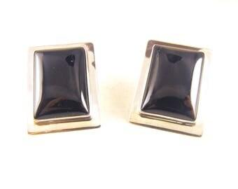 Navajo Artisan Earrings Signed Tom Jackson Sterling Black Onyx Minimalist Modernist Design Clean Lines Designer Signed
