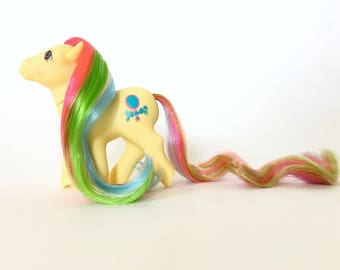 Vintage My Little Pony, Pretty Vision, Generation 1 Brush 'n Grow MLP by Hasbro Toys, Yellow Pony with Rainbow Hair, 1980s Toys