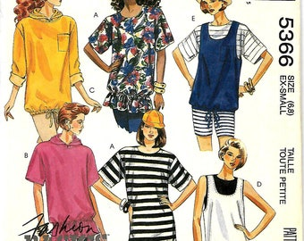 Easy McCall's 5366 Fashion Basics Misses Oversized Pullover Tunics Sewing Pattern, Size 6-8,  UNCUT