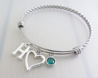 Heart Charm Stainless Steel Bangle, Birthstone Initial Bangle, Personalised Silver Letter Bracelet, Adjustable Twist Bangle, Valentine Gift