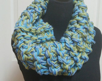 Blue  and green hand knit  chunky   infinity  scarf