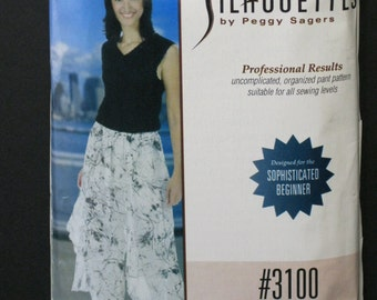 """Silhouette #3100, Laurie's Pant, sizes 1 - 4 and 5W - 8W, Peggy Sagers pattern, waist sizes 42"""" through 60"""", ankle pant with flowing drapes"""