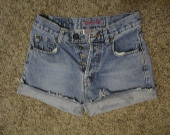 Vtg Silver Jeans Cutoff JEAN SHORTS Cut Off W 27 MEASURED button fly High WaistFree Shipping usa