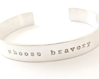 Personalized Cuff Bracelet with Secret Inside Message - Custom Sterling Silver Hand Stamped Jewelry - My Word, Affirmation - Inspirational