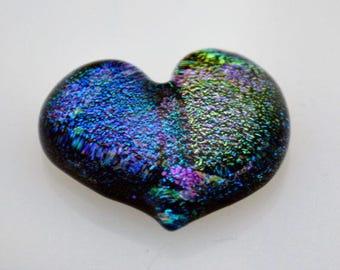 Fused Dichroic Heart, Heart Cabochon, Heart Tile, Dichroic Heart Cabochon, Jewelry Cab, Handmade Heart Tile