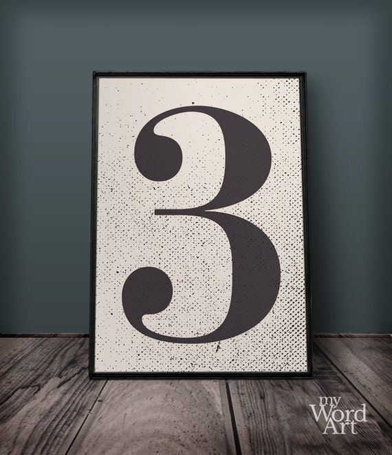 Large Number Wall Decor : Number print three wall art decor