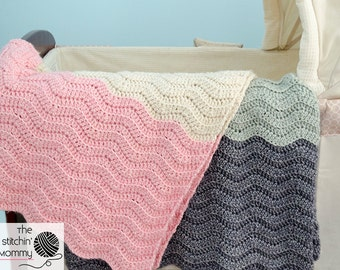 PDF Crochet Pattern - Vivi's Color Block Ripple Afghan