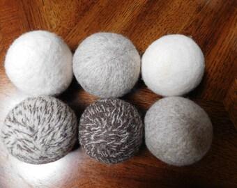 "Stocking Stuffer/Gift Idea: Set of 6 Dryer Balls MIXED COLORS  9""  Circumference 100% Wool Dye Free Eco-Friendly"