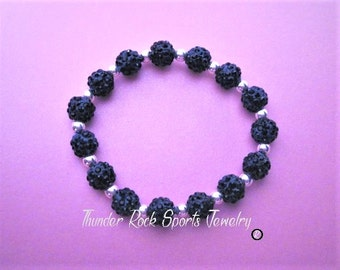 Navy Blue Shamballa Beads Bracelet Stretch Pave Sparkly Beaded Disco Ball Bling Crystals with Silver Spacers