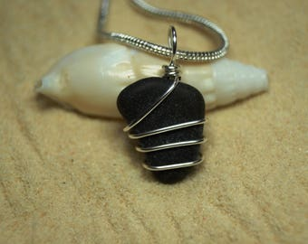 Wire Wrapped Dark Green Sea Glass Necklace with Sterling Silver Chain