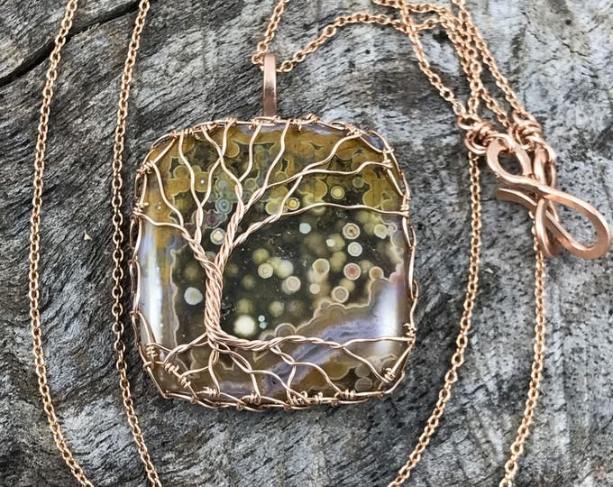 "Featured listing image: Tree of Life Necklace - 14k Rose Gold Filled - Ocean Jasper - ""Full Bloom"""