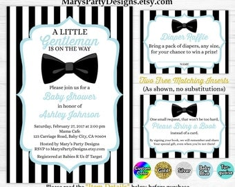 Little Gentleman Baby Shower Invitation - Boy Blue Black White Stripes Man Bow Tie Free Diaper Raffle Ticket Book Request Card Printable
