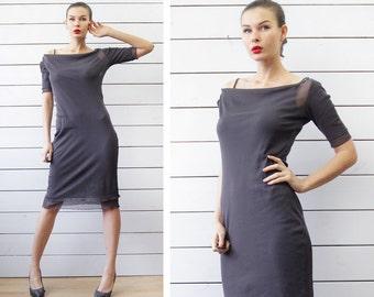 90s vintage slate grey mesh layered fitted short sleeve knee length midi dress M