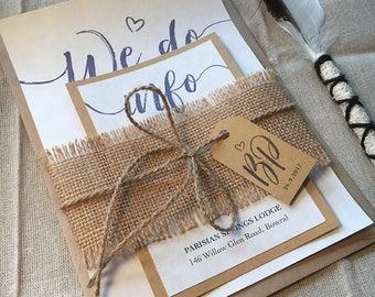 Printed ELEGANT RUSTIC Wedding Invitation Set – Ivory Parchment paper, Pastel Blue, Kraft paper, Burlap wrap, Tag & string