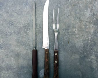 Prestige carving set, knife, fork and sharpener. Sheffield Steel. Made in England. Retro kitchen and dining.