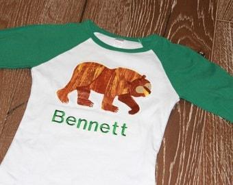 Brown bear shirt etsy raglan brown bear shirt short or long sleeve publicscrutiny Image collections