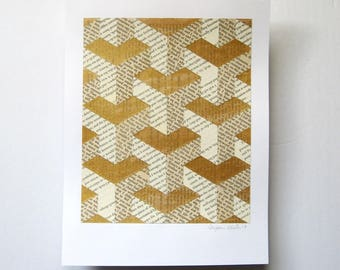 Gold Paper Collage - Story Reconstructed No2b - Book Paper Art - Modern Wall Decor - Gold Home Decor - Contemporary Art - Gold Anniversary