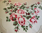 SALE - Vintage Tablecloth Shabby Chic Red Roses Shades of Pink Country Cottage Chic