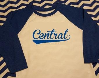 Central Trojans School Spirit Shirt - Heat Transferred Vinyl Baseball Swish