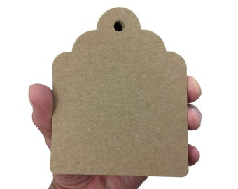 """Chubby Scalloped Hang Tags - Kraft Brown - 100 Count - 4"""" x 3 1/2"""" 146 LB Paperweight"""
