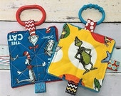 Baby Toys, SET of  2, Dr Seuss, baby toys, Can be personalized, Cat in the hat, & the Grinch. Crinkle toys, teething links included, 5 inch.