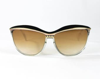 Leonard Paris Sunglasses - Iconic BOLD Brow BUTTERFLY Two Toned Clear Black Gold Sunnies Glasses Tinted WARM Brown 1980s 80s Paris France