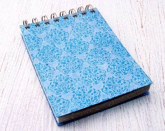 Small spiral notebook blue embossed / recycled notebook / blank notebook / pocket notebook / blue notebook / sketchbook / unlined / notepad