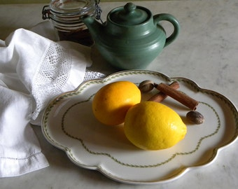 "Antique Fine Porcelain Haviland Limoges FRANCE Large 12 1/2"" Hand Painted OLIVES & LEAF Scalloped Serving Platter Tray, Country Farmhouse"
