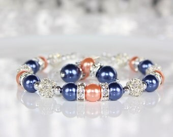 Navy Blue and Coral Pearl Bridesmaid Jewelry Set Bridesmaid Gift, Bridesmaid Jewelry, Wedding Gift, Wedding Jewelry Bracelet and Earrings