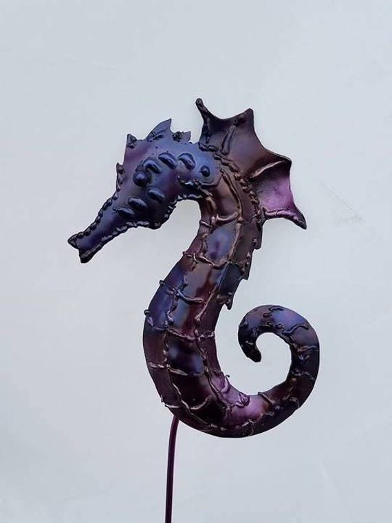 Garden sculpture, seahorse, recycled garden decor, metal garden stake, beach outdoor art, pool house decor, garden gift girl