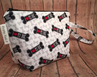 I Love My Dog Fabric Zipper Pouch, Makeup Bag, Cosmetic Bag, Gadget Bag, Travel Bag, Gift for Dog Lovers, Gift for her, Stocking Stuffer