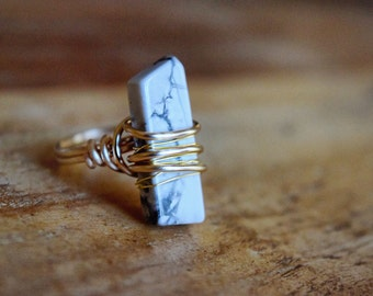 Marble wire wrapped ring / marble ring