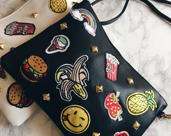 Studded Jumbo Emoji Patch Clutch Bag - Carry All - Gold Studded  - 2 Colors
