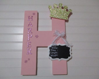 "HOSPITAL DOOR BIRTH announcement 15"" tall, 10"" across, tall nursery letters, door announcement, birth announcement, princess theme"