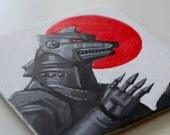 Mecha Godzilla Painting - 4x4 inch - Acrylic Painting - Kaiju