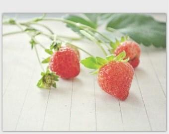 Summer Strawberries photography postcard 5 x 7 greeting card, fine art note card, fruit still life, kitchen decor, hostess gift, farm market