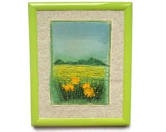 Embroidery painting Wall hangingTextile Art  Framed picture