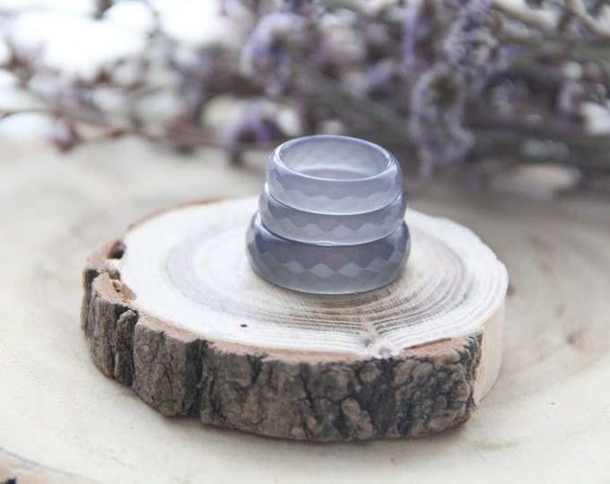Resin Faceted Ring, Lavender Gray Resin Ring With Micro Shimmer, Big Size Resin Ring, For Her, For Him, Valentine's Gift, Mother's Gift