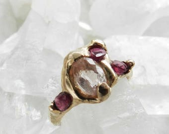 20% OFF SALE morganite ring, spinel ring, pink gemstone, bronze ring, bronze jewelry, modern jewelry