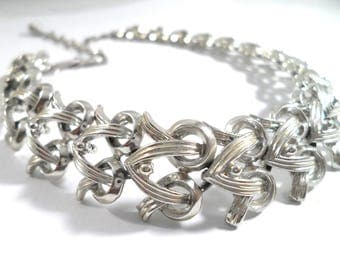 Vintage Coro Silver Tone Ribbons And Bows Necklace Coro Choker Necklace Vintage Jewelry Signed Coro Jewelry