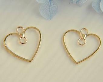 10pcs gold   plating heart Pendant