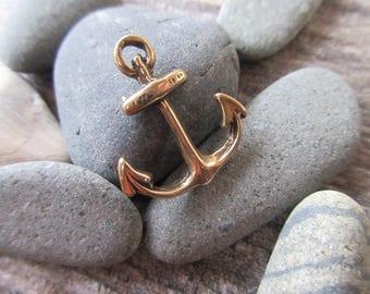 Anchor charm 100% Pure Bronze 18mm x 20mm  nautical pendant bronze beach charm ocean charm AN01-B