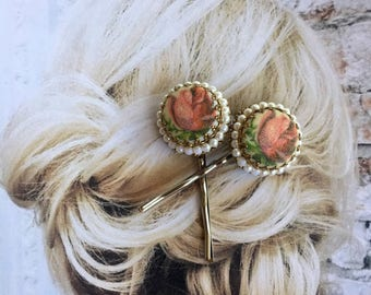 Bridal Hair Pins Jewelry 1940's West Germany Vintage Rose Pearl Romantic Hairpins Bobby Pins