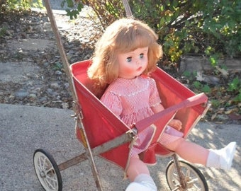 ON SALE Vintage 1940s-1950s Doll Stroller, South Bed Mfg Co., Red and White Canvas, Childs Toy, Display, Collectible, Doll, Toy, Made In USA