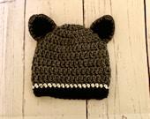 Raccoon Hat - Gray Woodland Hat - all sizes animal beanie hat newborn, baby, child, adult