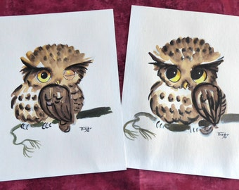 Lois Mae Thayer Original Watercolor Pair Owls 1965 Unframed Ink Signed Retro Owl Paintings