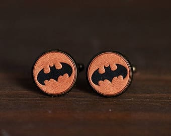 Vintage Style cufflinks - Personalized Super Hero Batman Cufflinks Wedding Cufflinks