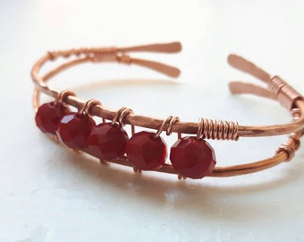 Copper Cuff Bracelet with Red Cut Glass Beads