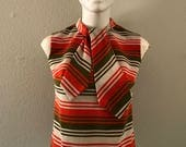 Vintage striped sleeveless neck tie collar top women's shirt